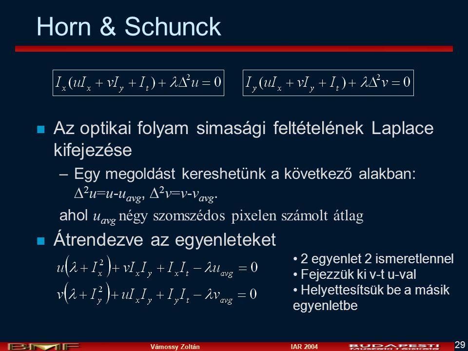 Horn & Schunck Az optikai folyam simasági feltételének Laplace kifejezése. Egy megoldást kereshetünk a következő alakban: 2u=u-uavg, 2v=v-vavg.