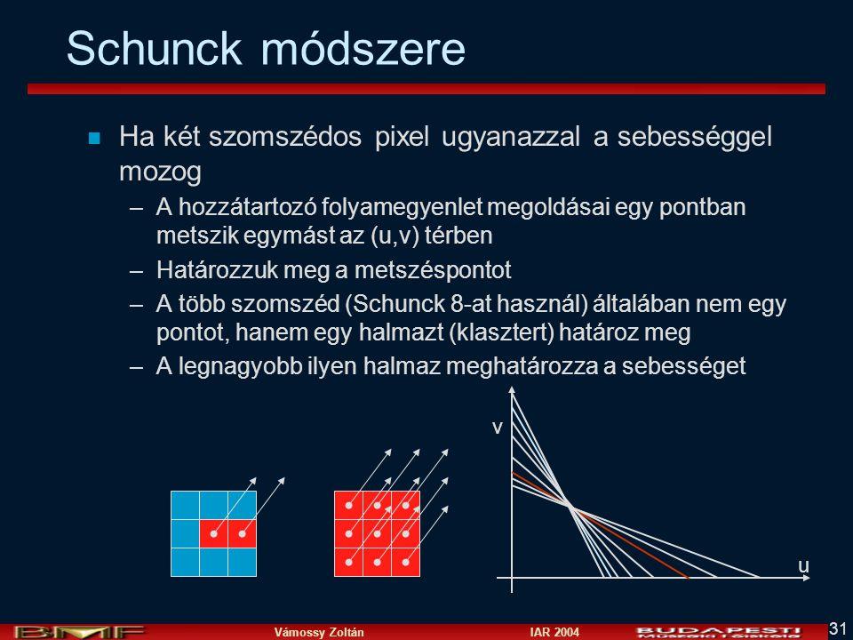 Schunck módszere Ha két szomszédos pixel ugyanazzal a sebességgel mozog.