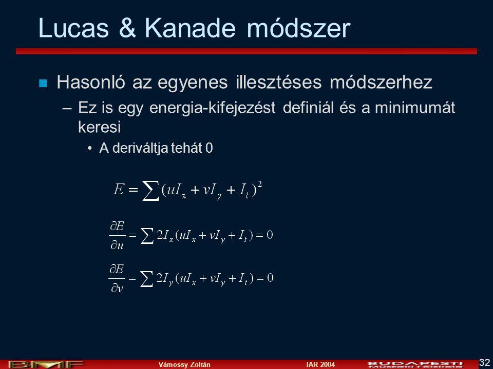 Lucas & Kanade módszer Hasonló az egyenes illesztéses módszerhez