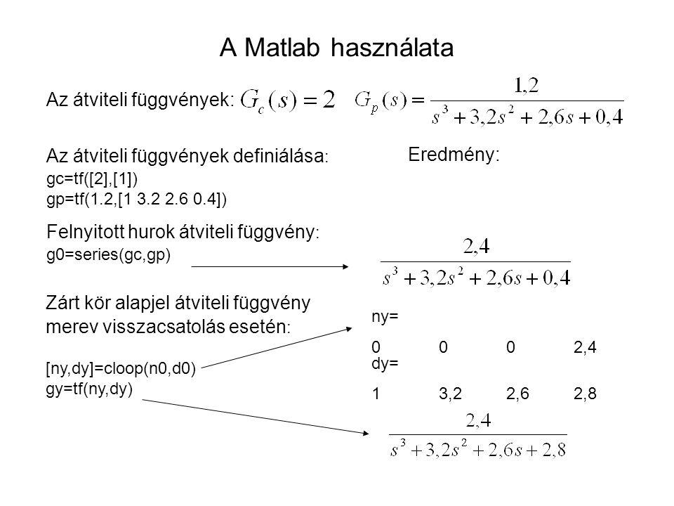 A Matlab használata Az átviteli függvények: