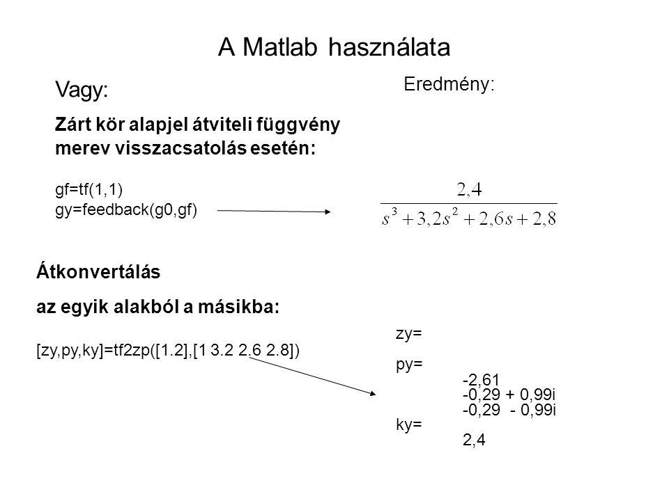 A Matlab használata Vagy: Eredmény: Zárt kör alapjel átviteli függvény