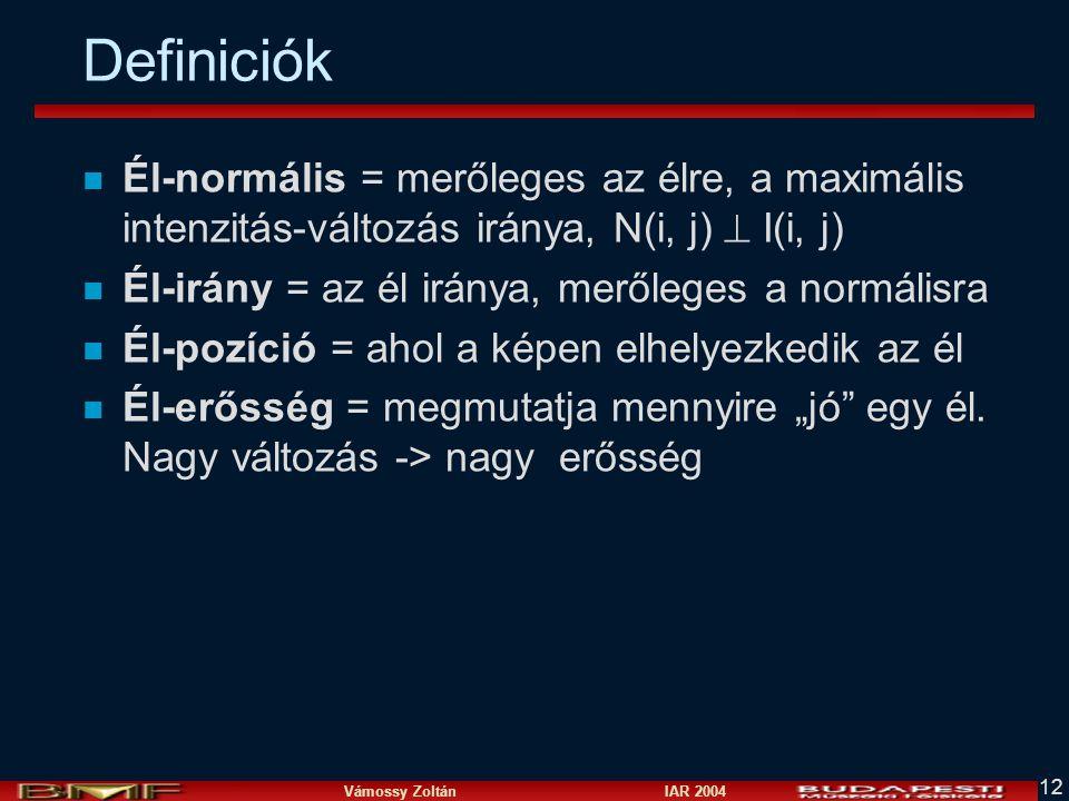 Definiciók Él-normális = merőleges az élre, a maximális intenzitás-változás iránya, N(i, j)  I(i, j)