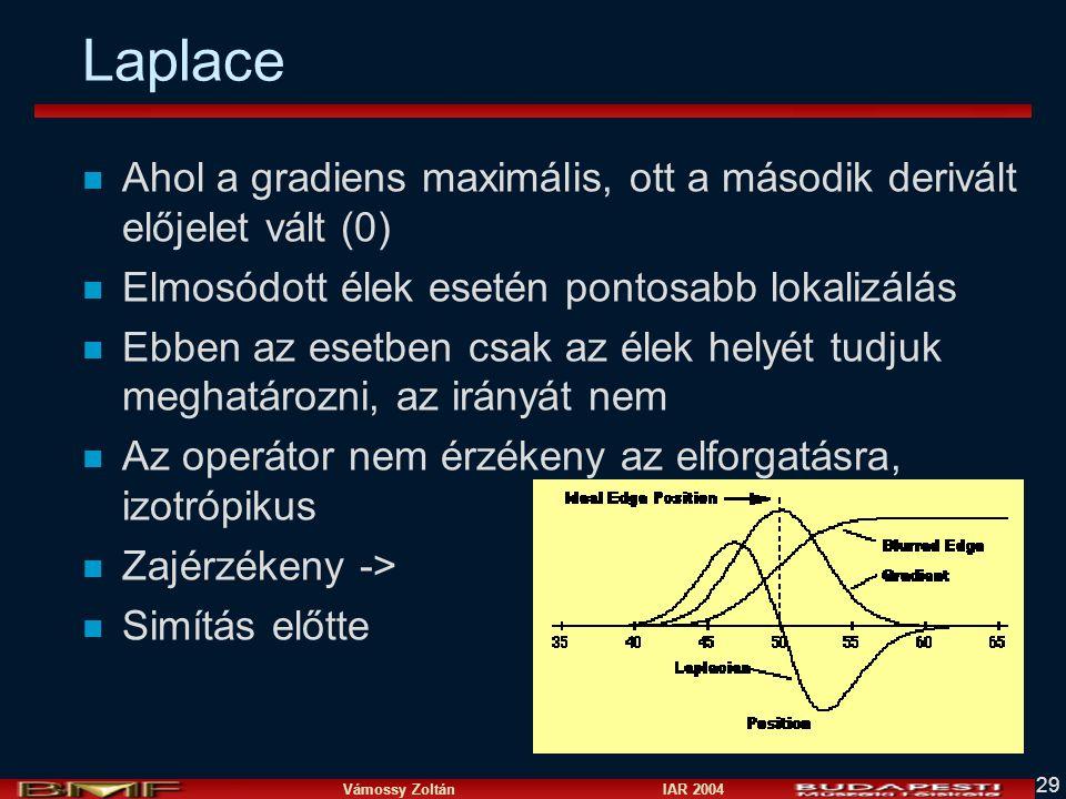 Laplace Ahol a gradiens maximális, ott a második derivált előjelet vált (0) Elmosódott élek esetén pontosabb lokalizálás.