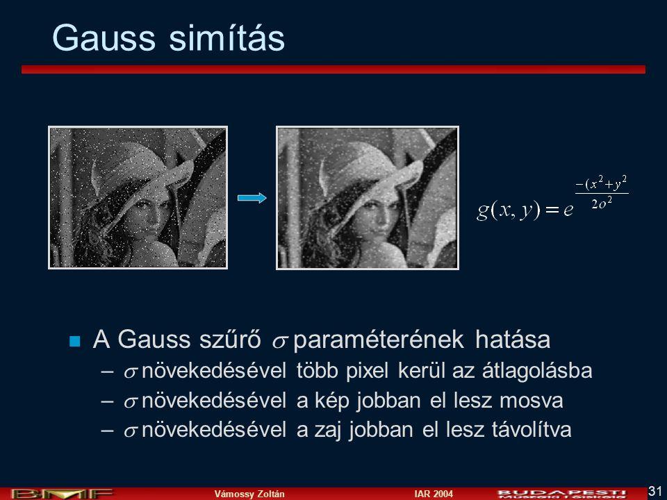 Gauss simítás A Gauss szűrő  paraméterének hatása