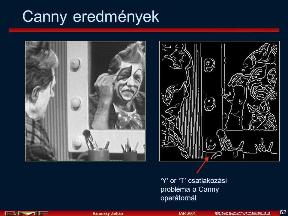 Canny eredmények 'Y' or 'T' csatlakozási probléma a Canny operátornál