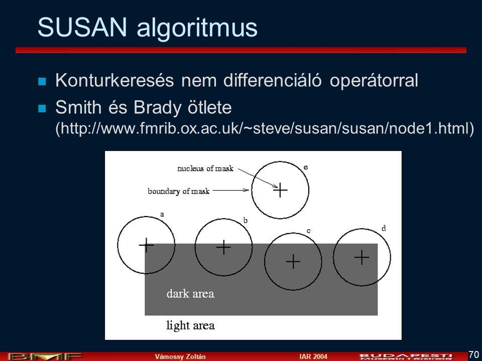 SUSAN algoritmus Konturkeresés nem differenciáló operátorral