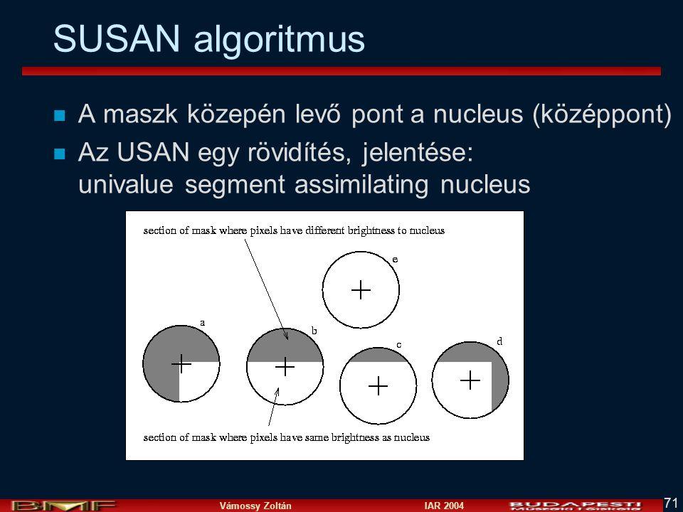 SUSAN algoritmus A maszk közepén levő pont a nucleus (középpont)