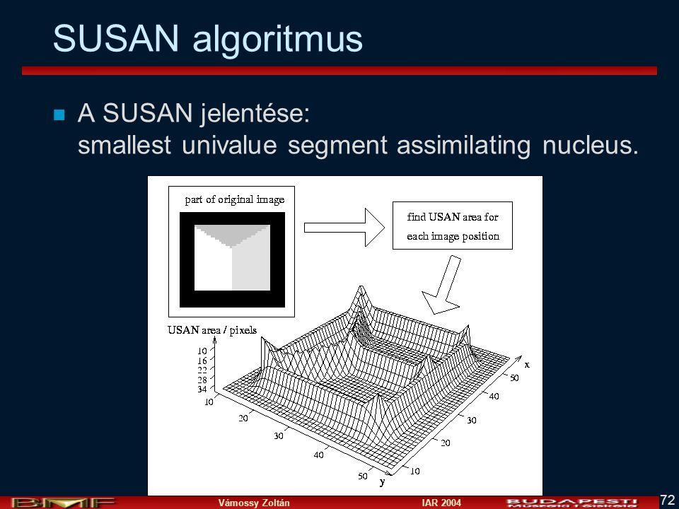 SUSAN algoritmus A SUSAN jelentése: smallest univalue segment assimilating nucleus.