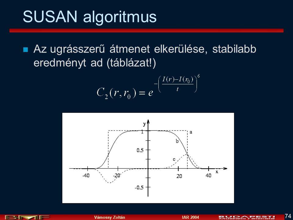 SUSAN algoritmus Az ugrásszerű átmenet elkerülése, stabilabb eredményt ad (táblázat!)