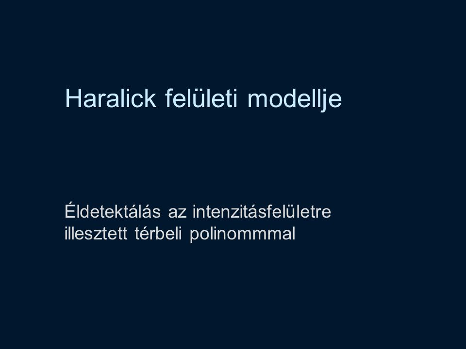 Haralick felületi modellje