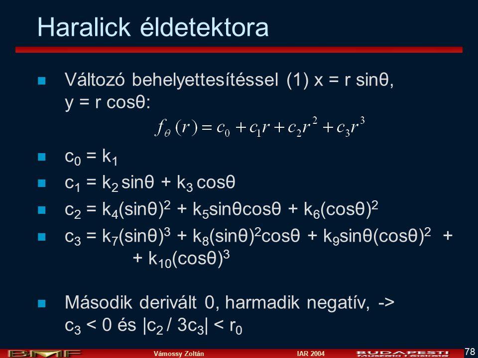 Haralick éldetektora Változó behelyettesítéssel (1) x = r sinθ, y = r cosθ: c0 = k1. c1 = k2 sinθ + k3 cosθ.