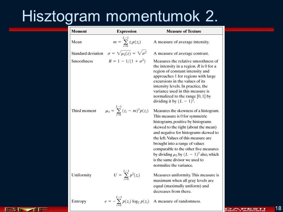 Hisztogram momentumok 2.