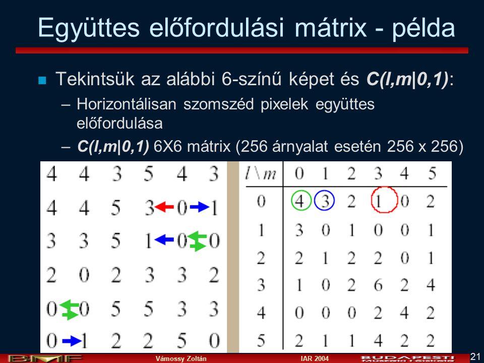 Együttes előfordulási mátrix - példa