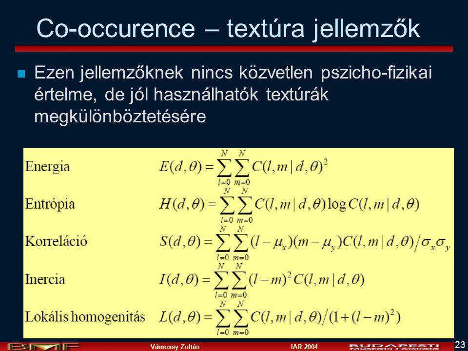 Co-occurence – textúra jellemzők