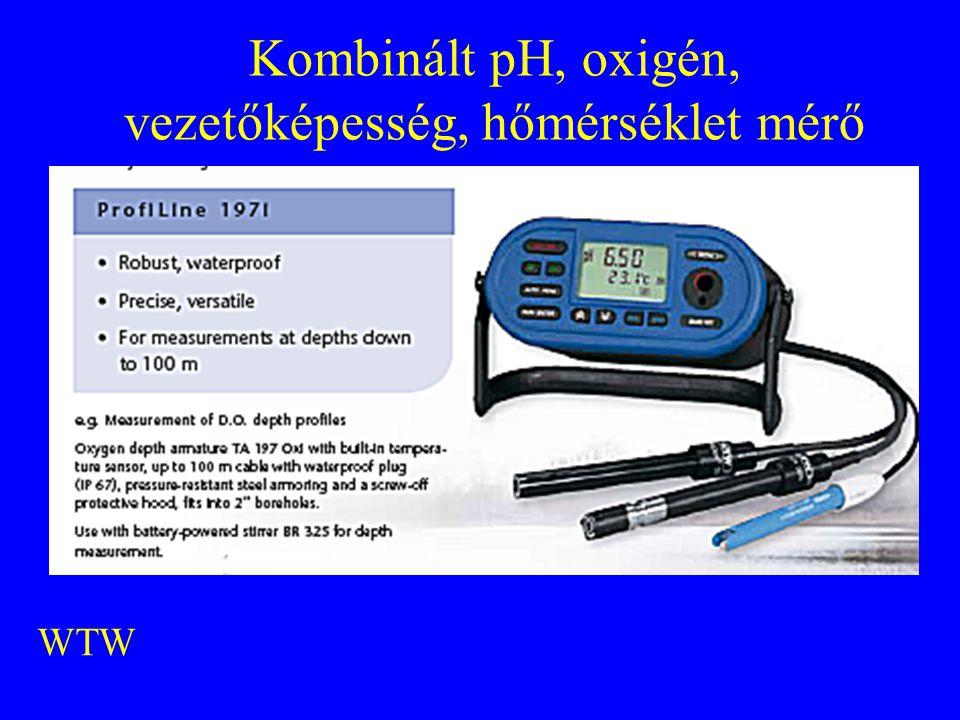 Kombinált pH, oxigén, vezetőképesség, hőmérséklet mérő