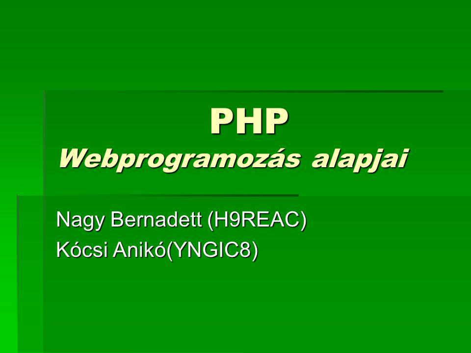 PHP Webprogramozás alapjai