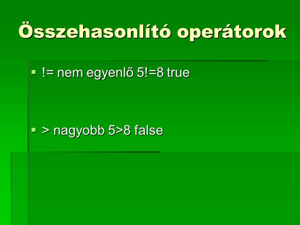 Összehasonlító operátorok