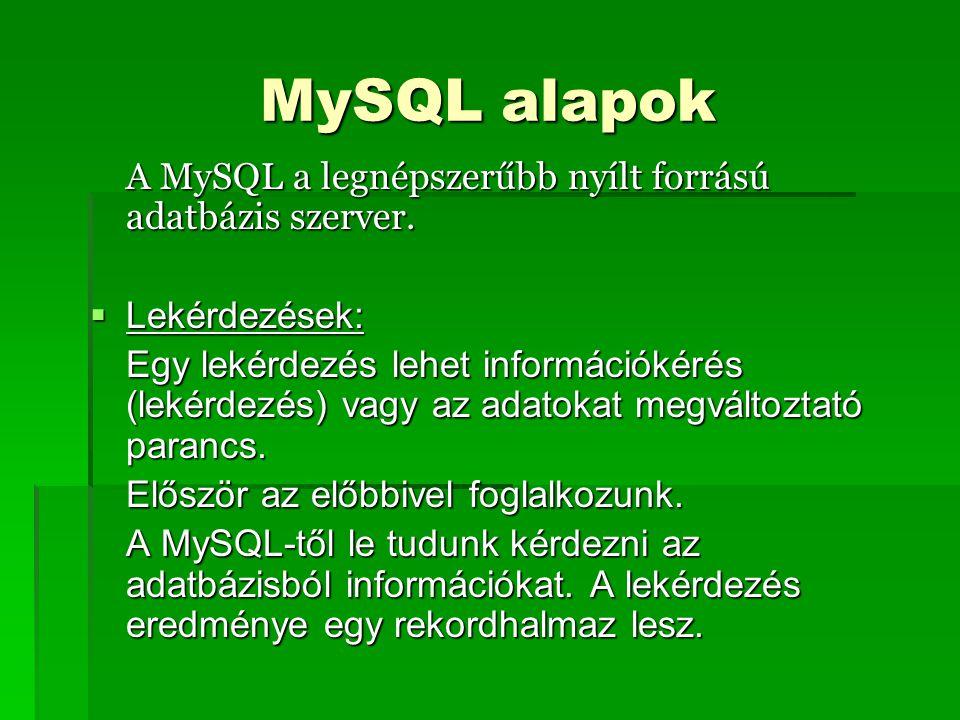 MySQL alapok A MySQL a legnépszerűbb nyílt forrású adatbázis szerver.