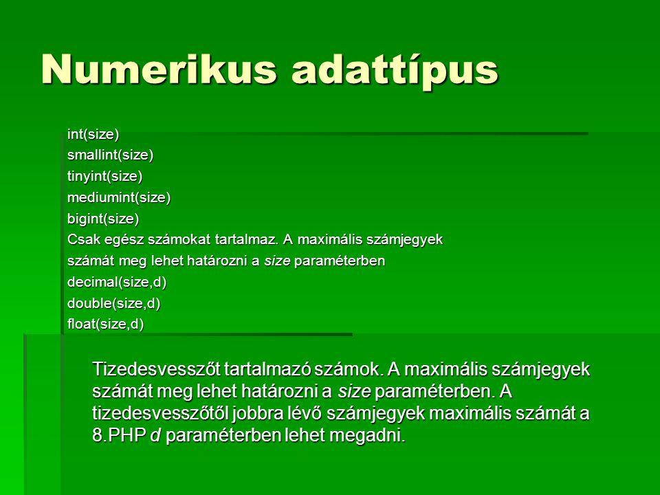 Numerikus adattípus int(size) smallint(size) tinyint(size)