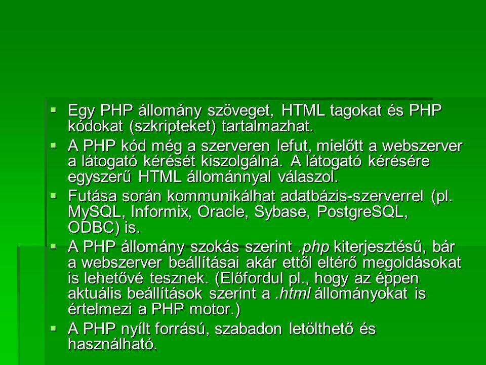Egy PHP állomány szöveget, HTML tagokat és PHP kódokat (szkripteket) tartalmazhat.