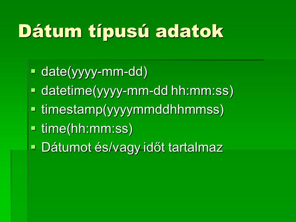 Dátum típusú adatok date(yyyy-mm-dd) datetime(yyyy-mm-dd hh:mm:ss)
