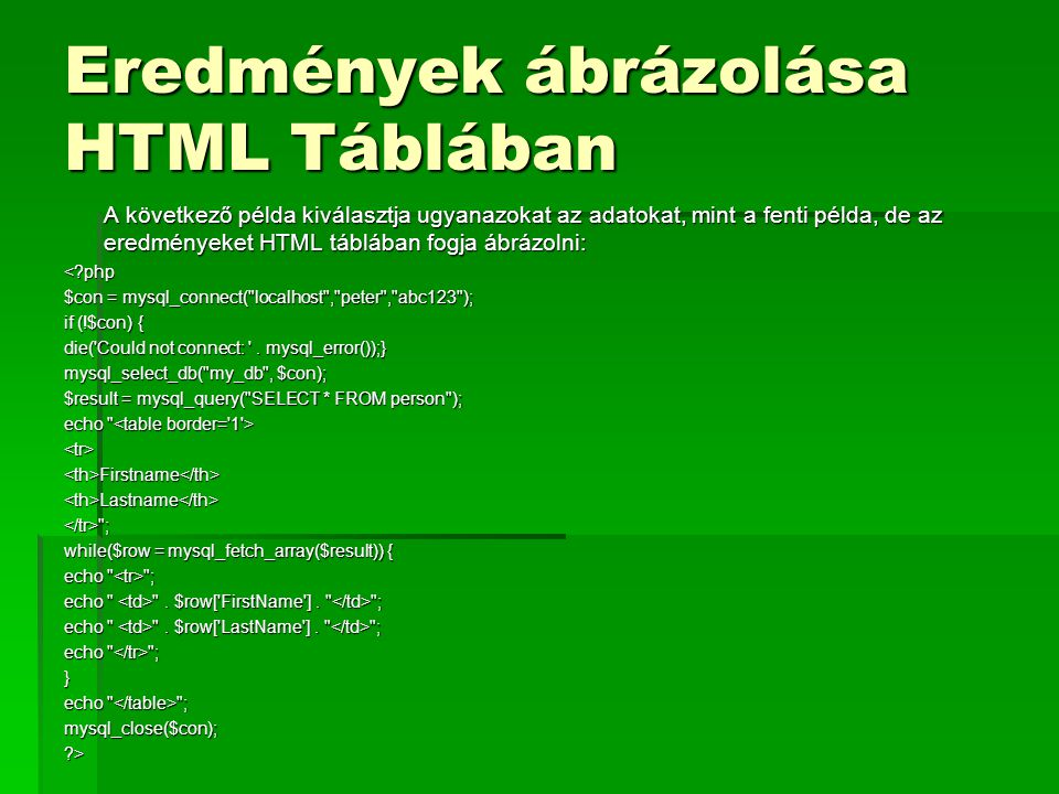 Eredmények ábrázolása HTML Táblában