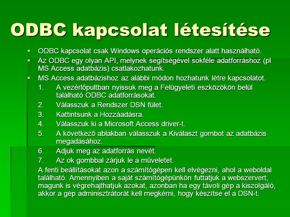 ODBC kapcsolat létesítése