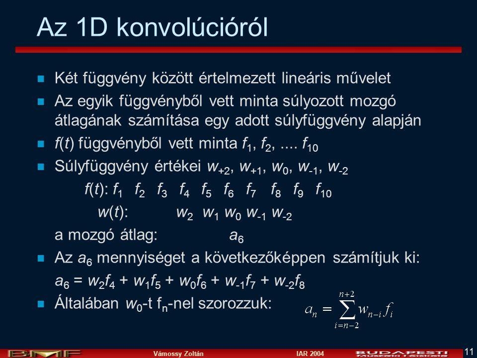 Az 1D konvolúcióról Két függvény között értelmezett lineáris művelet
