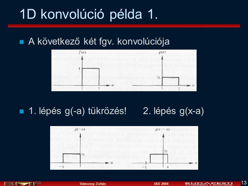 1D konvolúció példa 1. A következő két fgv. konvolúciója