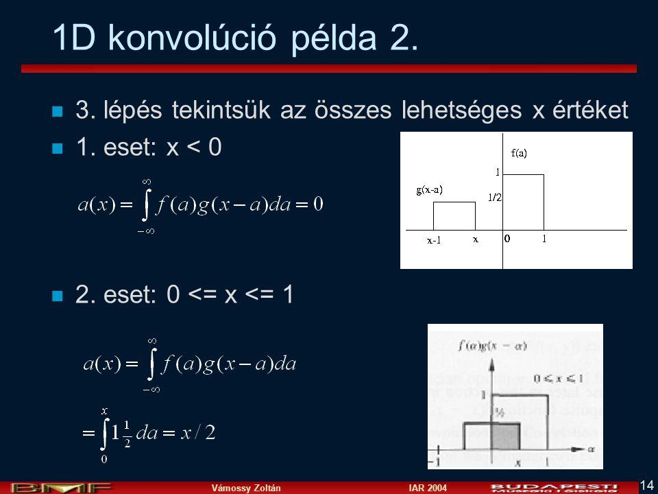 1D konvolúció példa 2. 3. lépés tekintsük az összes lehetséges x értéket.