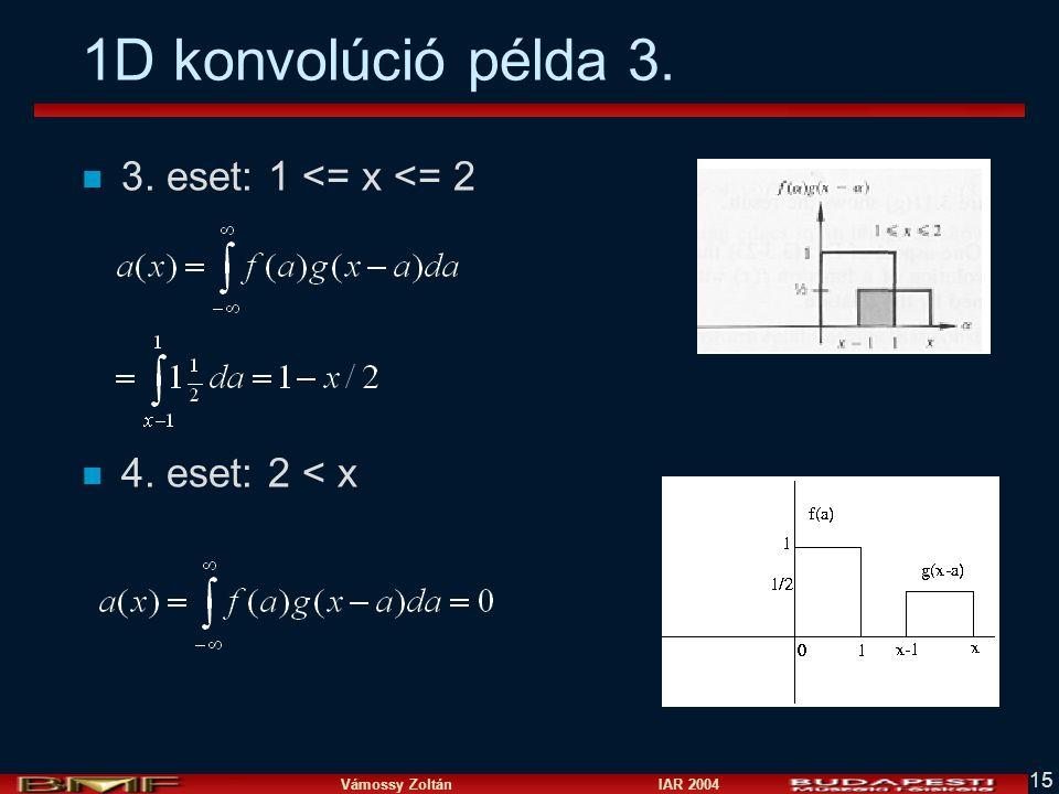 1D konvolúció példa 3. 3. eset: 1 <= x <= 2 4. eset: 2 < x