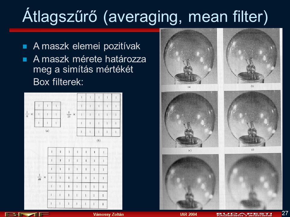 Átlagszűrő (averaging, mean filter)