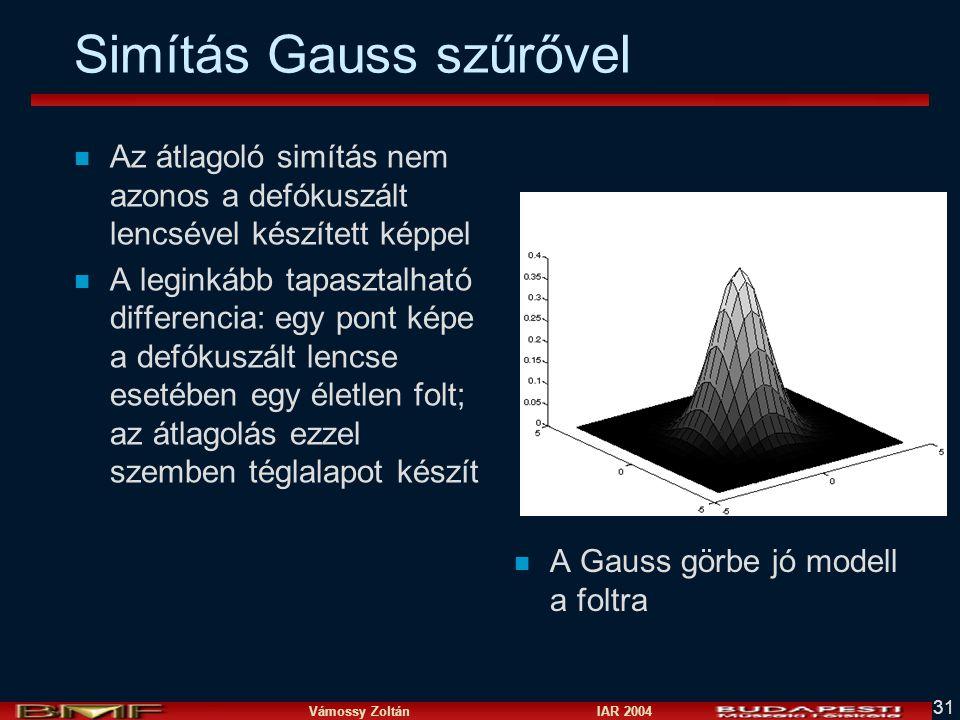 Simítás Gauss szűrővel