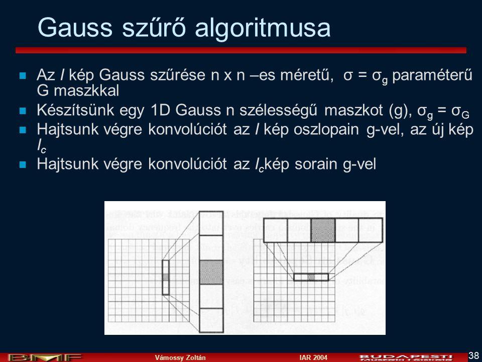 Gauss szűrő algoritmusa