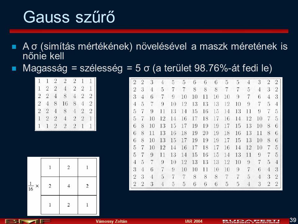 Gauss szűrő A σ (simítás mértékének) növelésével a maszk méretének is nőnie kell.