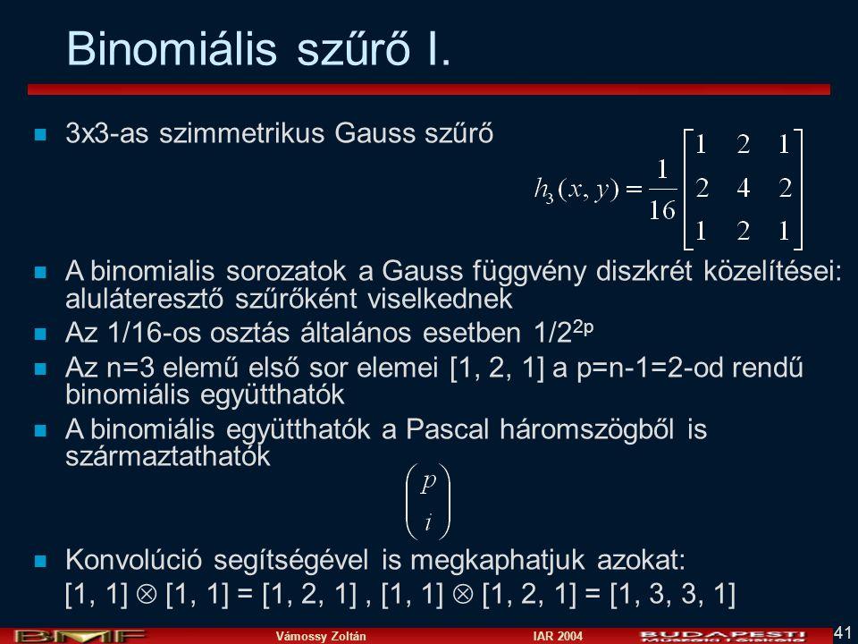 Binomiális szűrő I. 3x3-as szimmetrikus Gauss szűrő