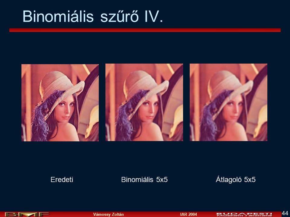 Binomiális szűrő IV. Eredeti Binomiális 5x5 Átlagoló 5x5