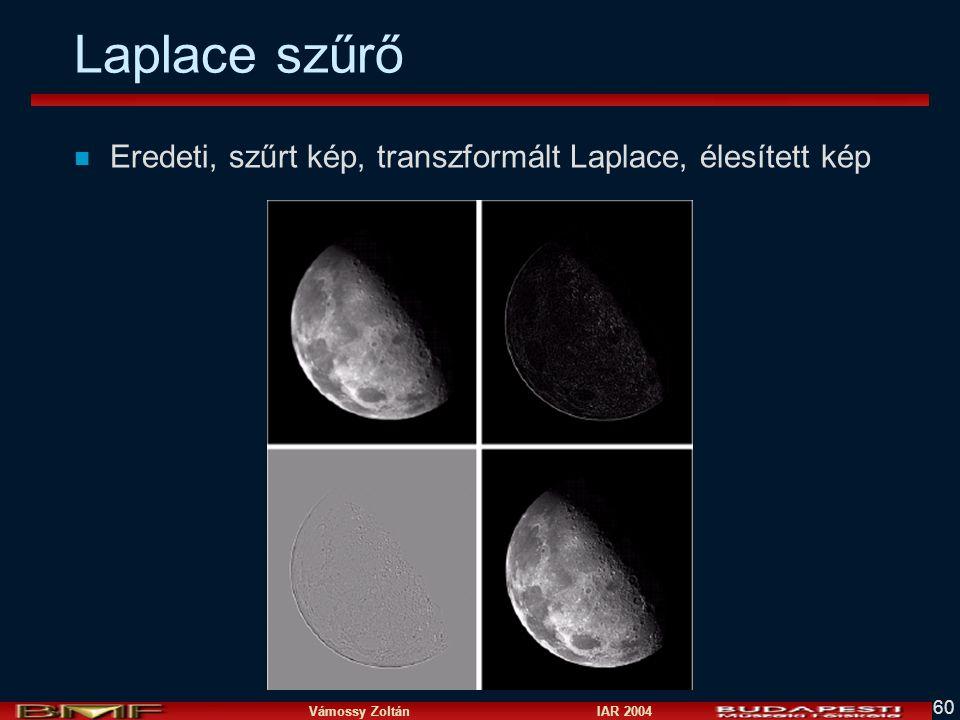 Laplace szűrő Eredeti, szűrt kép, transzformált Laplace, élesített kép