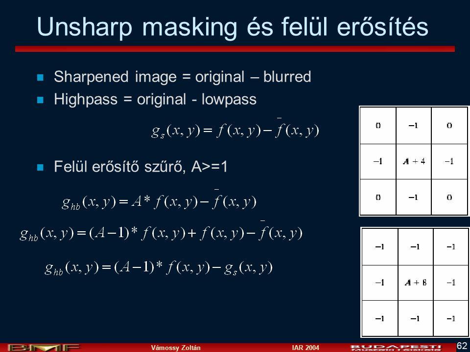 Unsharp masking és felül erősítés