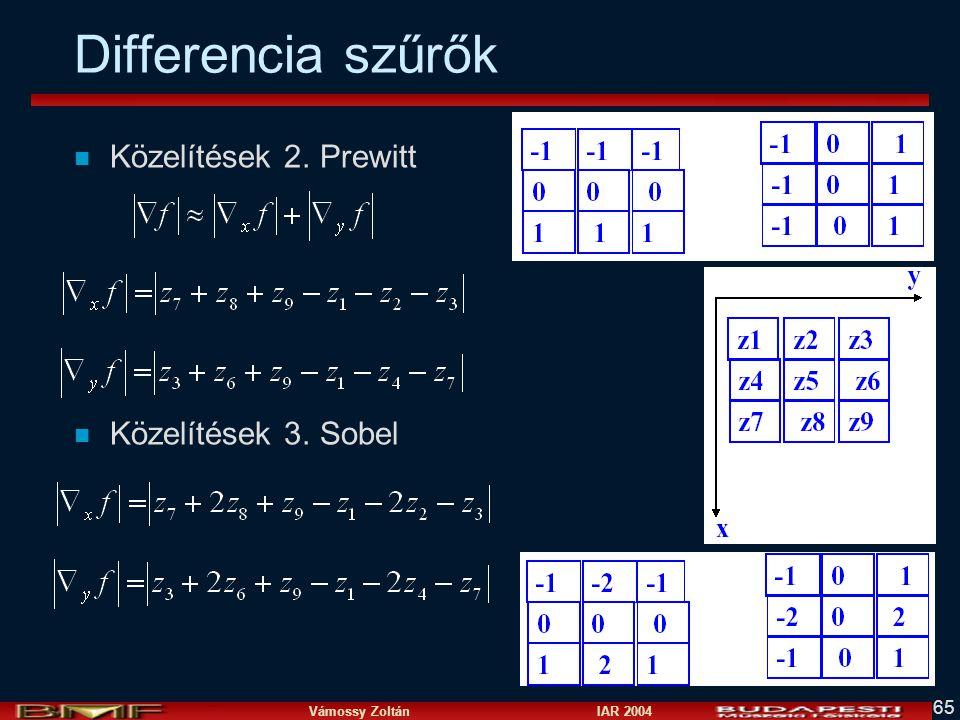 Differencia szűrők Közelítések 2. Prewitt Közelítések 3. Sobel