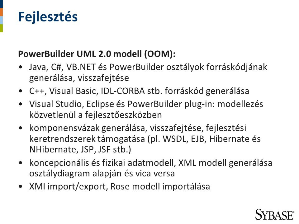 Fejlesztés PowerBuilder UML 2.0 modell (OOM):