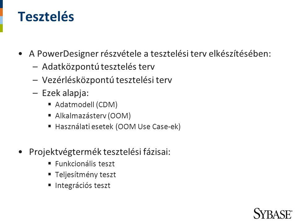 Tesztelés A PowerDesigner részvétele a tesztelési terv elkészítésében:
