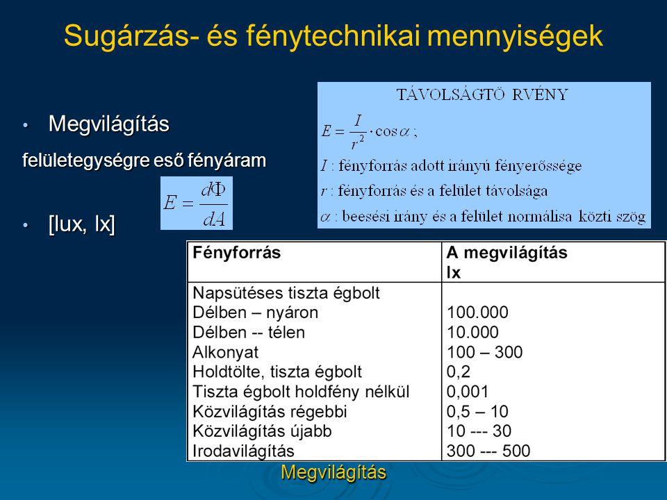 Sugárzás- és fénytechnikai mennyiségek
