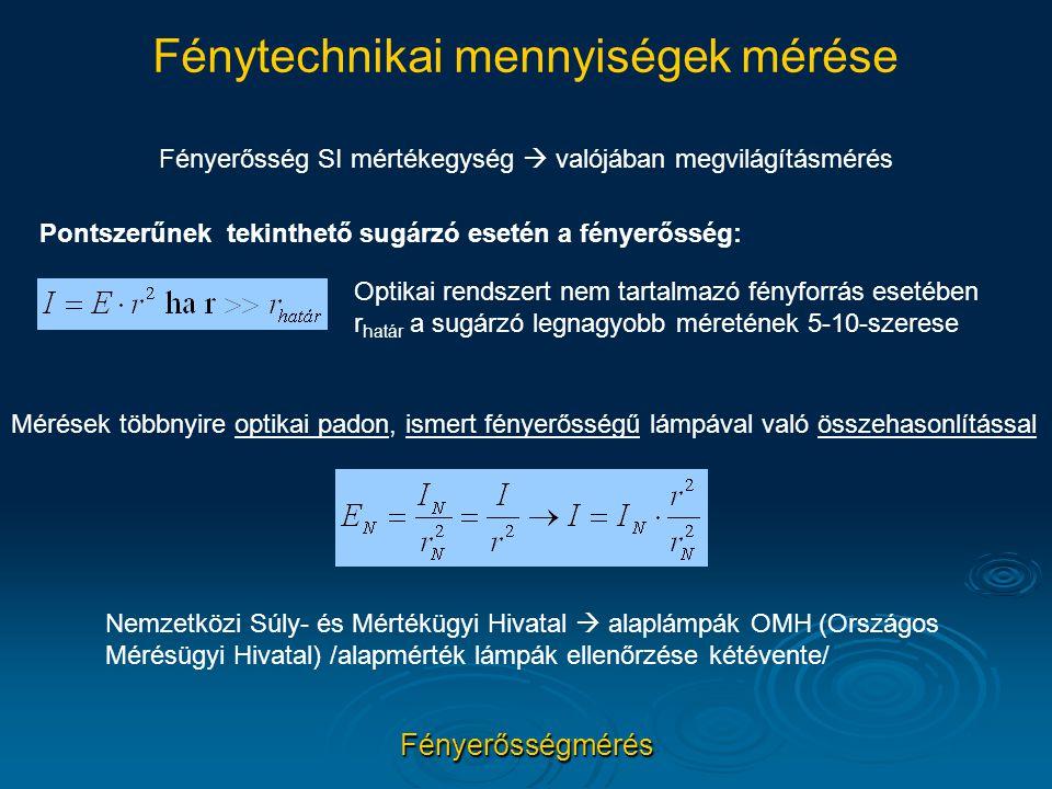 Fénytechnikai mennyiségek mérése