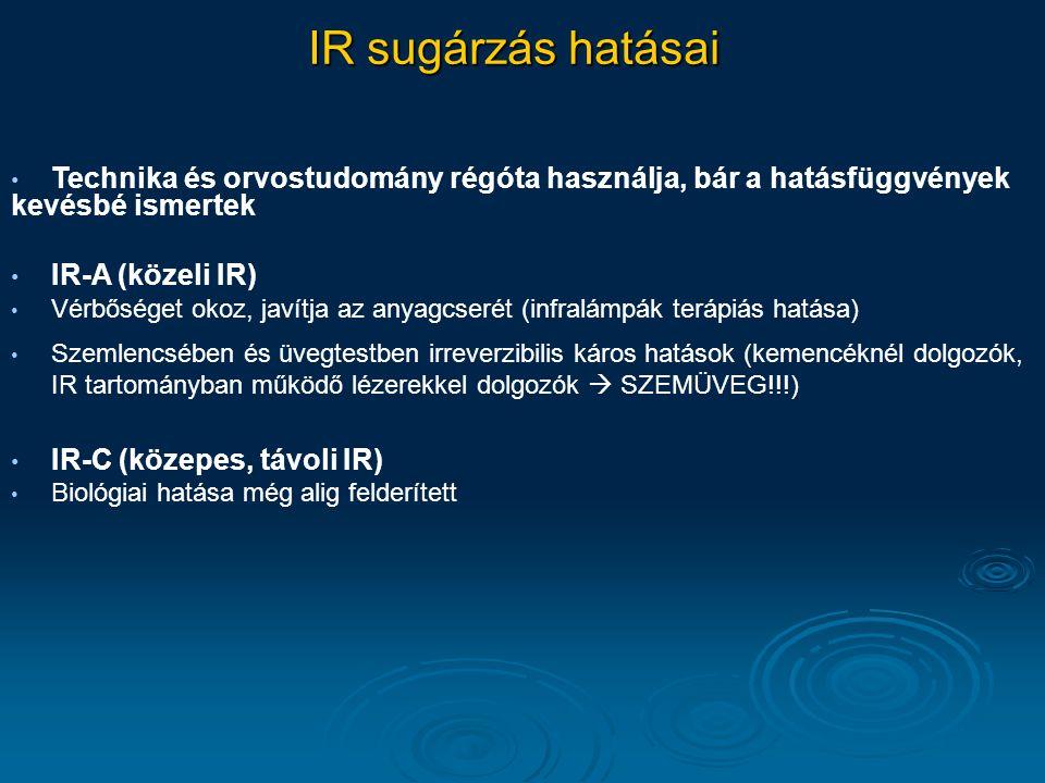 IR sugárzás hatásai Technika és orvostudomány régóta használja, bár a hatásfüggvények kevésbé ismertek.