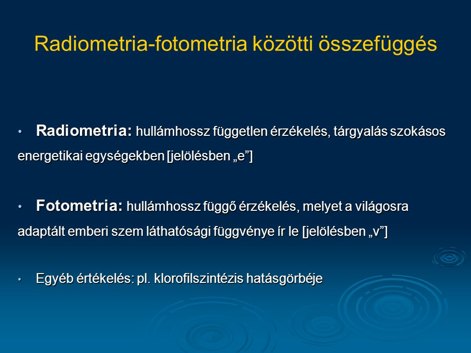 Radiometria-fotometria közötti összefüggés