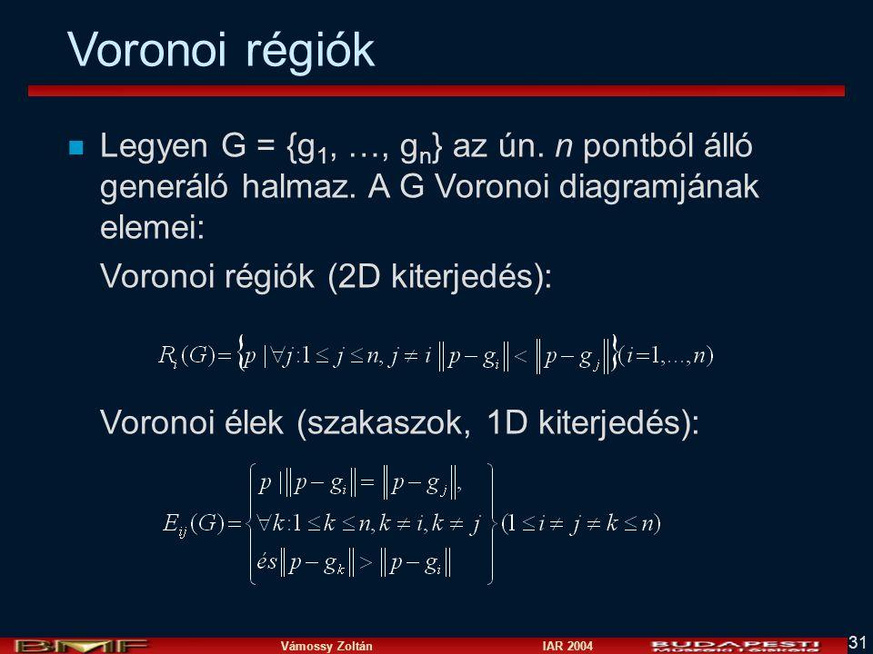 Voronoi régiók Legyen G = {g1, …, gn} az ún. n pontból álló generáló halmaz. A G Voronoi diagramjának elemei: