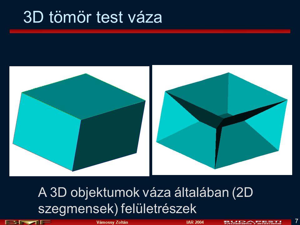 3D tömör test váza A 3D objektumok váza általában (2D szegmensek) felületrészek