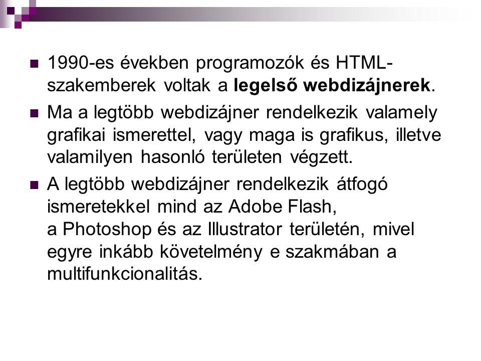1990-es években programozók és HTML-szakemberek voltak a legelső webdizájnerek.
