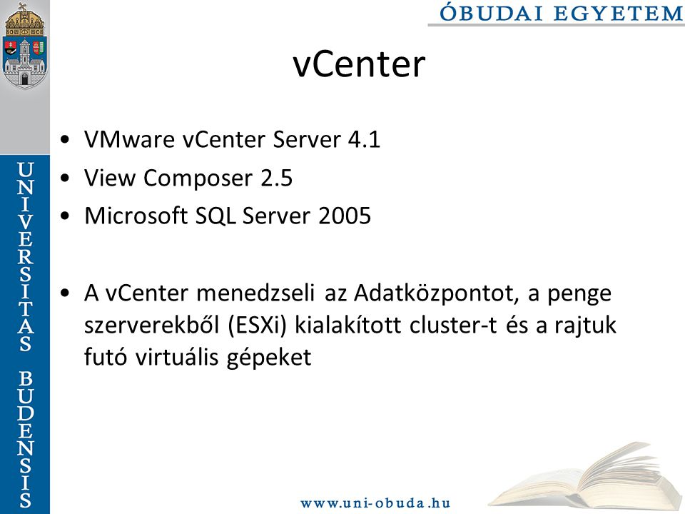 vCenter VMware vCenter Server 4.1 View Composer 2.5